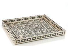 A functional piece of art, this expertly crafted tray is formed from inlaid bone tile and wood, creating a beautiful convergence of pattern, texture and color. Contemporary Cabin, Tray Decor, Furniture Decor, Luxury Furniture, Accent Decor, Modern Design, Modern Art, Bones, Floral Design