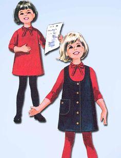 1960s Vintage McCalls Sewing Pattern 7441 Helen Lee Girls Dress and Jumper Sz 6