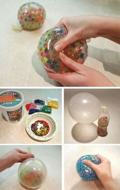 Learn how to make your own sensory stress balls using polymer beads and balloons. Kids can have so much fun with this activity and experiment with different colors! #artsandcrafts, #EverydayArtsandCrafts