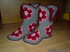 Royce's Hub: Embroidery Stitches For Leaves : Fishbone Stit Crochet Slipper Boots, Knitted Slippers, Crochet Slippers, Crochet Shoes Pattern, Shoe Pattern, Crochet Patterns, Crochet Fall, Irish Crochet, Cute Hats