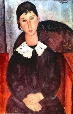 Elvira by Modigliani. Order from DEKORAMI as a poster, canvas print, mural. Zamów jako obraz na płótnie, plakat lub fototapetę na DEKORAMI.pl.