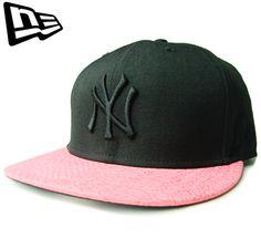 """【ニューエラ】【NEW ERA】9FIFTY NEW YORK YANKEES """"NY"""" レザーバイザー ブラックXピンク ストラップバック【CAP】【ニューヨーク・ヤンキース】【帽子】【スナップバック】【snap back】【BLACK】【黒】【スネーク】【キャップ】【あす楽】【楽天市場】"""