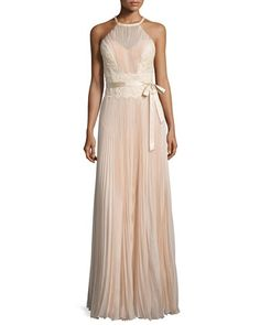 Sleeveless+Lace-Inset+Plisse+Gown,+Alabaster+by+MIGNON+at+Neiman+Marcus.