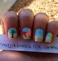Summer nail art Get Nails, Fancy Nails, Love Nails, Pretty Nails, Beach Nail Art, Beach Nails, Nails 2014, Plain Nails, Cute Summer Nails