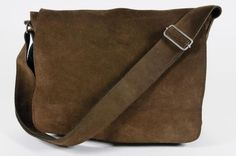Leonhard Heyden Thick Brown Suede Flap Messenger Cross Body Bag Made (reminds me of the season 1 bag Buffy had)