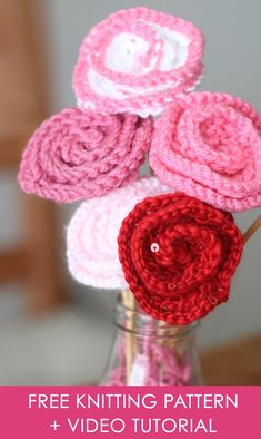 How to Knit Rose Flowers with Easy, Free Pattern + Video Tutorial by Studio Knit.