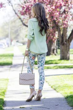 Mint And Floral Streetstyle