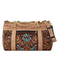 Love this Chocolate & Cream Floral Embroidered Suede Weekender on #zulily…