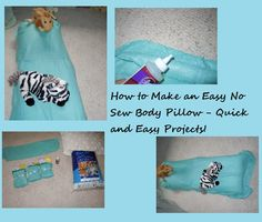 Step-by-step instructions on How to Make an Easy No Sew Body Pillow a Free Pattern! Great for kids to sleep on or for your bed!