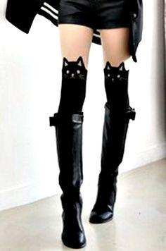 Puss in Boots Hello Kitty Alley Cat Halloween by swankyturtle #tattoostockings