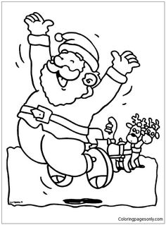 A Santa Claus Jumping Happily To Welcome Christmas Day Coloring Page