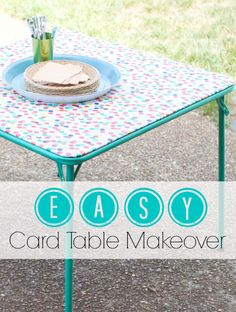 EASY Card Table Makeover with cute vinyl tablecloth!