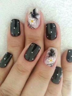 ☺ Nail Polish Designs, Nail Art Designs, Sunflower Nail Art, Bright Nails, Nail Candy, Stylish Nails, Gel Nail Art, Flower Nails, Creative Nails