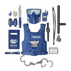 "★BEST PRETEND PLAY: This is a great pretend police toy set for your child to learn, play and make them to think about ""what they might want to do when they grow up"". Police Officer Halloween Costume, Boy Costumes, Halloween Costumes For Girls, Kid Halloween, Little Girl Toys, Toys For Girls, Kids Toys, Kids Police, Police Cars"