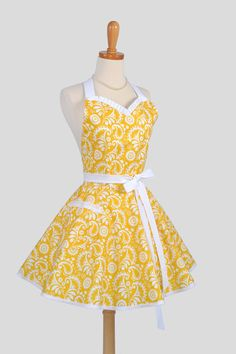 Sweetheart Retro Apron - Sexy Flirty Womens Apron in Sunny Yellow Damask Cute Full Kitchen Apron. $40.00, via Etsy.