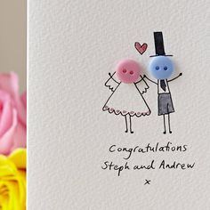 personalised 'button wedding' handmade card by hannah shelbourne designs | notonthehighstreet.com
