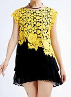 Yellow Hollow Embroidery Lace Pleated Chiffon Dress