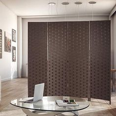 Best Seller FDW mesh Woven Design Room Divider Wooden Folding Portable partition Screen Wood Home, Brown online - Annetrendyfashion Portable Partitions, Portable Room Dividers, Space Dividers, Living Room Divider, 4 Panel Room Divider, Design Room, Partition Screen, Small End Tables, Web Design