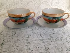 Excited to share the latest addition to my #etsy shop: Japanese Tea Cups and Saucer House with Trees Orange Band http://etsy.me/2oVe69m #housewares #orange #blue #birthday #christmas #no #ceramic #japanese #nippon