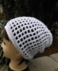 open weave white crochet slouchy hat, spring and summer accessory, casual knit slouch beanie, girls and women accessories, gifts for her by RipitFrog on Etsy