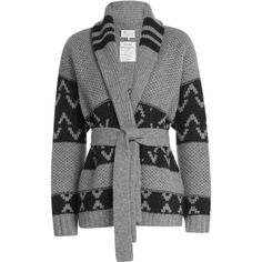 Maison Margiela Wool Cardigan ($762) ❤ liked on Polyvore featuring tops, cardigans, sweaters, jackets, grey, none, grey cardigan, chunky grey cardigan, chunky cardigan and wool cardigan