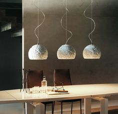 modern dome pendant lights over lacquered dining table
