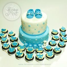 Baby Boy Christening Themed Cake and Cupcakes Baby Boy Christening, Christening Cakes, Cupcake Cakes, Cupcakes, Themed Cakes, Desserts, Food, Baptism Cakes, Theme Cakes