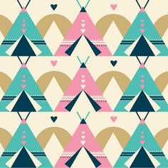 tipis pattern in blue and pink