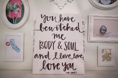 11x14 Bewitched me body and soul script font by OnceAGinn on Etsy, $25.00