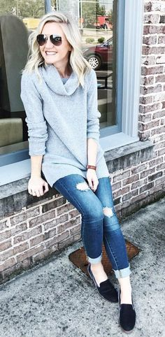 #fall #outfits  women's gray long sleeved shirt and blue distressed skinny jeans