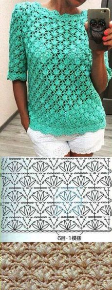 Crochet blouse with a beautiful pattern. Summer openwork crochet blouse | Housekeeping for the whole family.