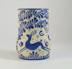 Blue and White VASE with Deer and Leafy Design Hand Made Stoneware Pottery Sgraffito Carved via The Clay Bungalow