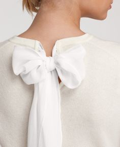 Cashmere bow back sweater. Cashmere bow back sweater. Fashion Details, Look Fashion, Womens Fashion, Preppy Fashion, White Fashion, Diy Fashion, Fashion Shoes, Fashion Design, Looks Style