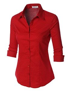 LE3NO Womens Polka Dots Button Down 3/4 Sleeve Tailored Shirt LE3NO http://www.amazon.com/dp/B01ACKX61M/ref=cm_sw_r_pi_dp_8pRPwb0QY0F57