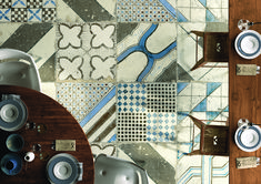 Patterns are a trend this fall. Majo is a glazed porcelain stoneware tile that includes nine different patterns with a rustic look. Majo has a unique style that blends with both country and contemporary decors. 2018 Interior Design Trends, Patchwork Tiles, Visit Usa, Encaustic Tile, House Tiles, Marble Effect, Contemporary Decor, Porcelain Tile, Phuket