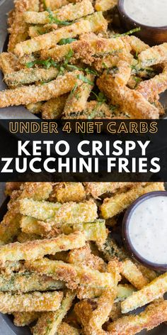 Crispy Zucchini Fries (keto low carb) These Crispy Zucchini F. Crispy Zucchini Fries (keto low carb) These Crispy Zucchini Fries are breaded with almond flour, parmesan and spices and baked until perfectly crispy! The perfect keto, low carb side dish! Zucchini Pommes, Zucchini Parmesan, Lemon Zucchini, Parmesan Crisps, Paleo Recipes, Cooking Recipes, Best Low Carb Recipes, Low Carb Zucchini Recipes, Low Carb Dinner Recipes