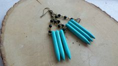 Upcycled Leather Earrings With Aztec Inspired Designs And Teal Turquoise Bead Detail By Yours Only Weronika Pinterest