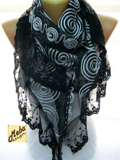 Lace scarf Black Scarf-gift Ideas For Her Women's by MebaDesign
