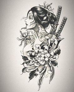 Geisha Tattoos, Geisha Tattoo Design, Japan Tattoo Design, Tattoo Design Drawings, Anime Tattoos, Tattoo Sleeve Designs, Tattoo Sketches, Body Art Tattoos, Girl Tattoos