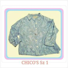 MEMORIAL DAY SALE  SZ 1 BLUE SHIRT CHICO'S BEAUTIFUL LIGHT BLUE BUTTON DOWN SHIRT. IT HAS MATCHING THREADING THRU OUT THE SHIRT IN UNIQUE PATTERN. LOOKS GREAT W/SKIRT OR PANTS. Pink Express Dress in Another Listing Chico's Tops Button Down Shirts