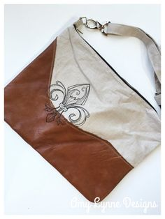 Linen and Leather Messenger Bag Fleur de Lis by AmyLynneDesigns