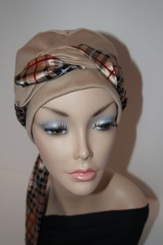 Chemo Hat Cancer Cap all Cotton Jersey Knit in Tan Nude Camel Turban Womens Alopecia Free Ship in USA. $20.00, via Etsy.