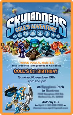 Skylanders Party Invitation