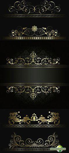 2 sets of vector golden floral ornaments with some decorative swirls for your classic designs. Pattern Art, Pattern Design, Motif Design, Stencils, Foto Transfer, 3d Cnc, Luxury Logo, Logo Design, Graphic Design