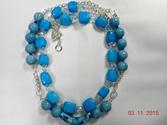 Blue chunky double strand necklace  Bead and chain necklace  Silver chain and bead necklace Light blue and dark blue necklace by leaujewls on Etsy https://www.etsy.com/listing/227287231/blue-chunky-double-strand-necklace-bead