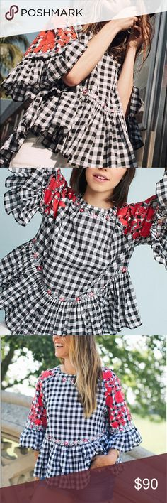 0d9ac9ca NWT Anthropologie Gingham Swing Top New with tags - Size Small - By Pankaj  and Nidhi Black and red and white top Anthropologie Tops Blouses