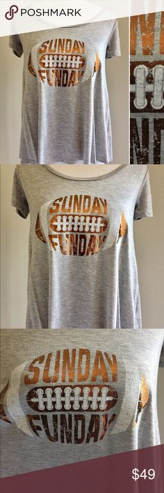 🎉HOST PICK SALE!!!🎉 S-L Sunday Funday Tee Super cute Heather Grey colored Tee with Sunday Funday Graphic. A-Line shaped tee super comfy/flowy fit. MADE IN USA! Celebrating my host pick with a 1 day sale, grab yours now!!! Tops Tees - Short Sleeve