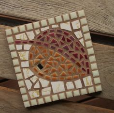 Golden wine hand-clipped porcelain mosaic leaf trivet with vintage tile and mirror, perfect hostess gift