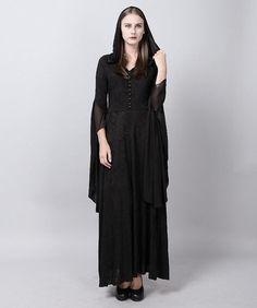 Punk Gothic Witch High Priestess Jacquard Hooded long jacket dress Halloween   eBay