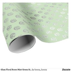 Glam Floral Roses Mint Green Silver Vip Wrapping Paper